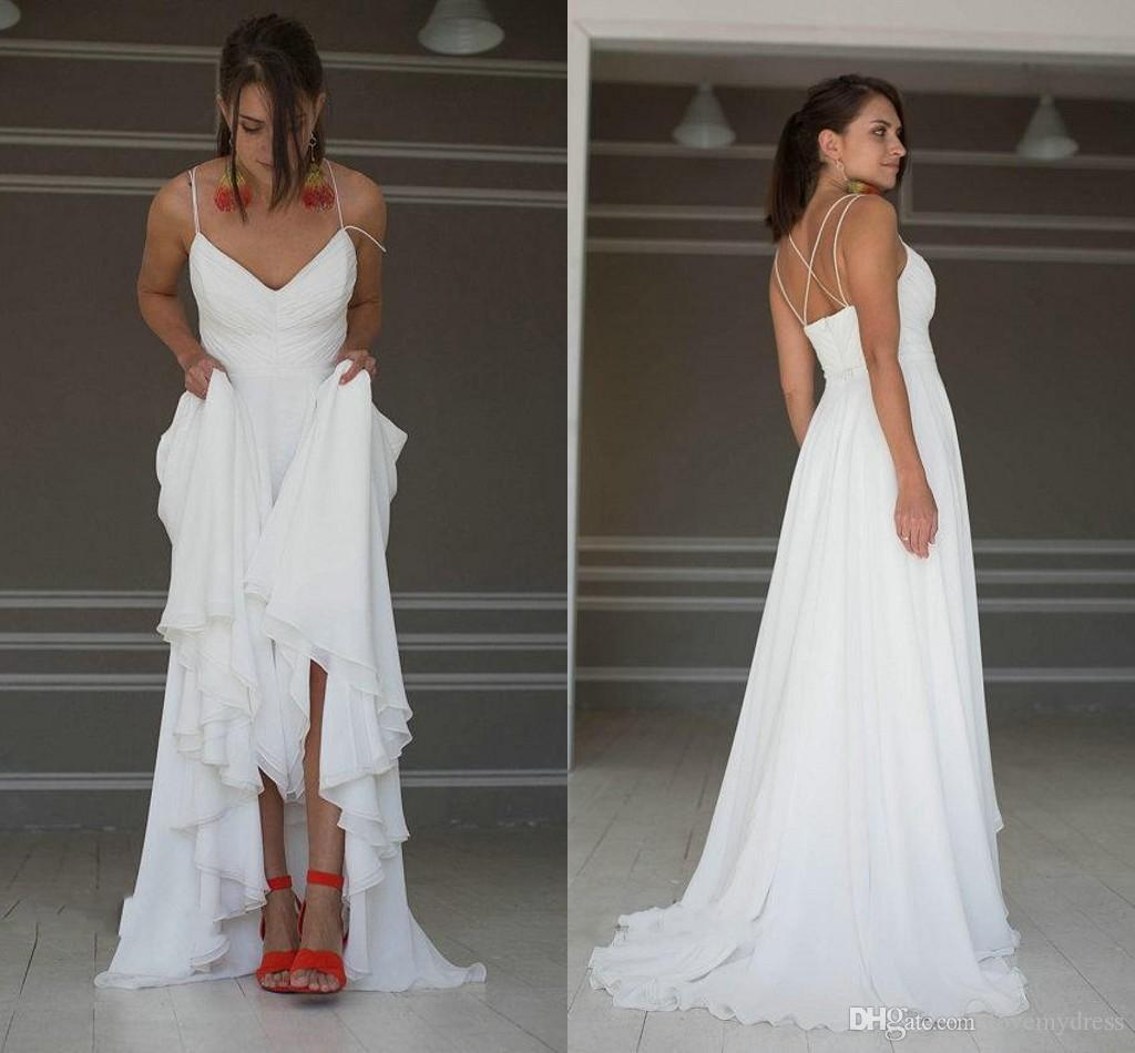 1e6203efd4aa5 Simple Beach Summer Wedding Dresses Cheap Under 100 With Spaghetti Straps  Criss Cross Back Designer Chiffon Ruched Wedding Bridal Gowns Wedding  Dresses ...