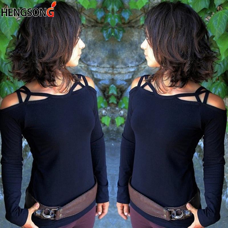 Großhandel Frühling Herbst Frauen T Shirt Casual Langarm Tops Tees Sexy  Schulterfrei Hohl Oansatz Einfarbig T Shirt Tops Blusas Von Xiatian5,   40.55 Auf De. 85c6d1bb01