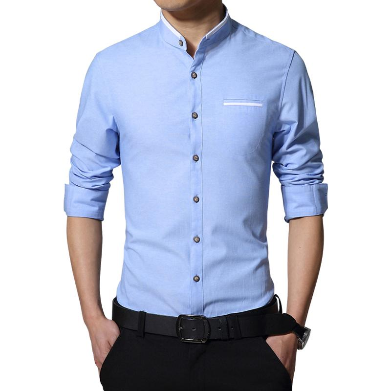 9738ff60219f6 New Fashion Casual Men Shirt Long Sleeve Mandarin Collar Slim Fit Shirt Men  Korean Business Mens Dress Shirts Men Clothes M -5xl