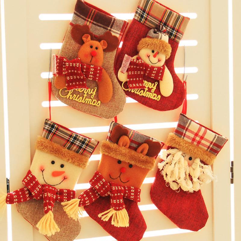 Christmas Stocking Small Plaid Santa Claus Sock Gift Bag Kids Xmas ...