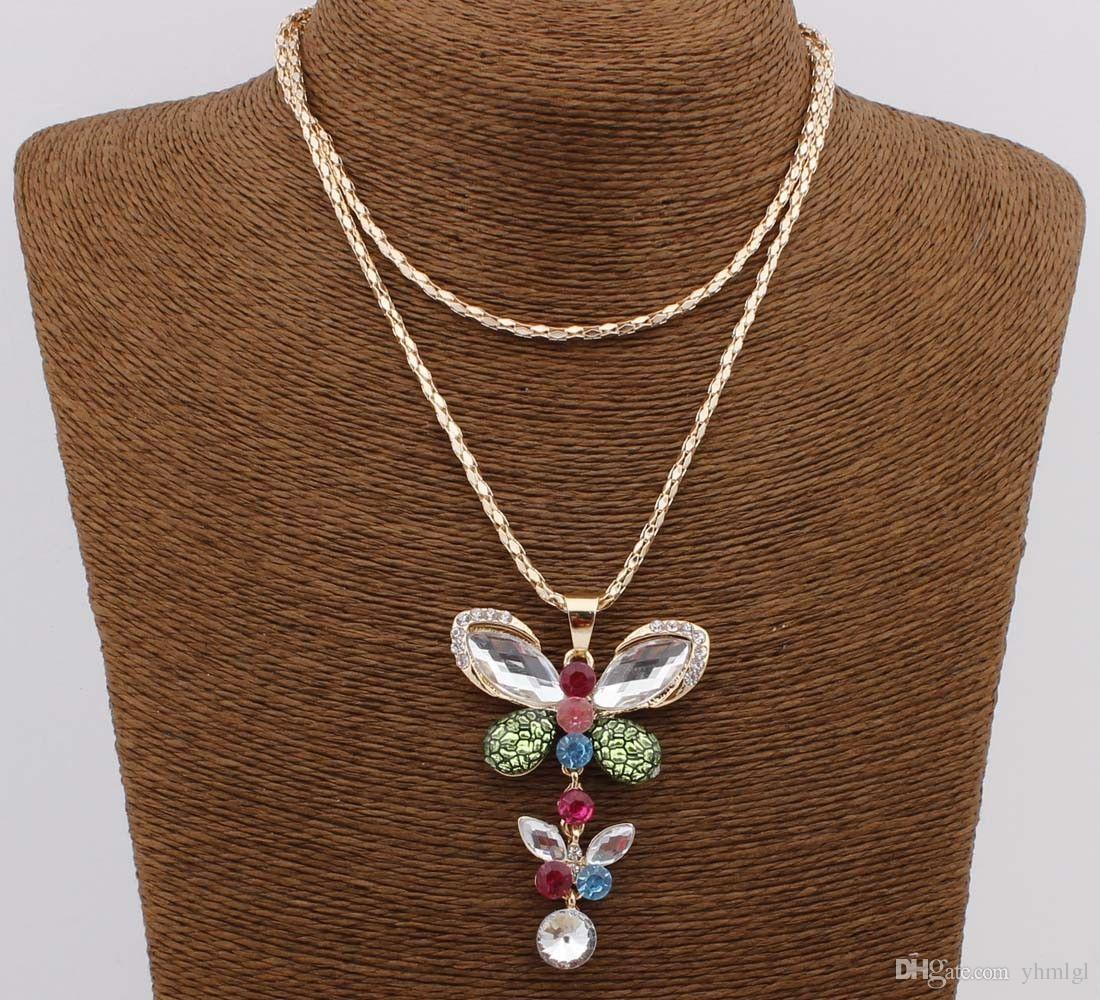 Подвеска бабочка Позолоченные Кристалл длинное платье цепи ожерелье ювелирные изделия