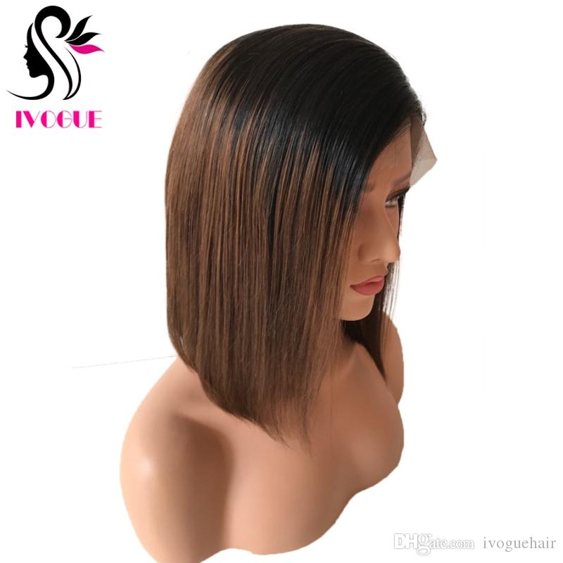 Dark Brown Ombre Lace Front Wig Short Bob Virgin Brazilian Straight Gluless Human Hair Full Lace Wigs Ombre Bob Wig with Baby Hair