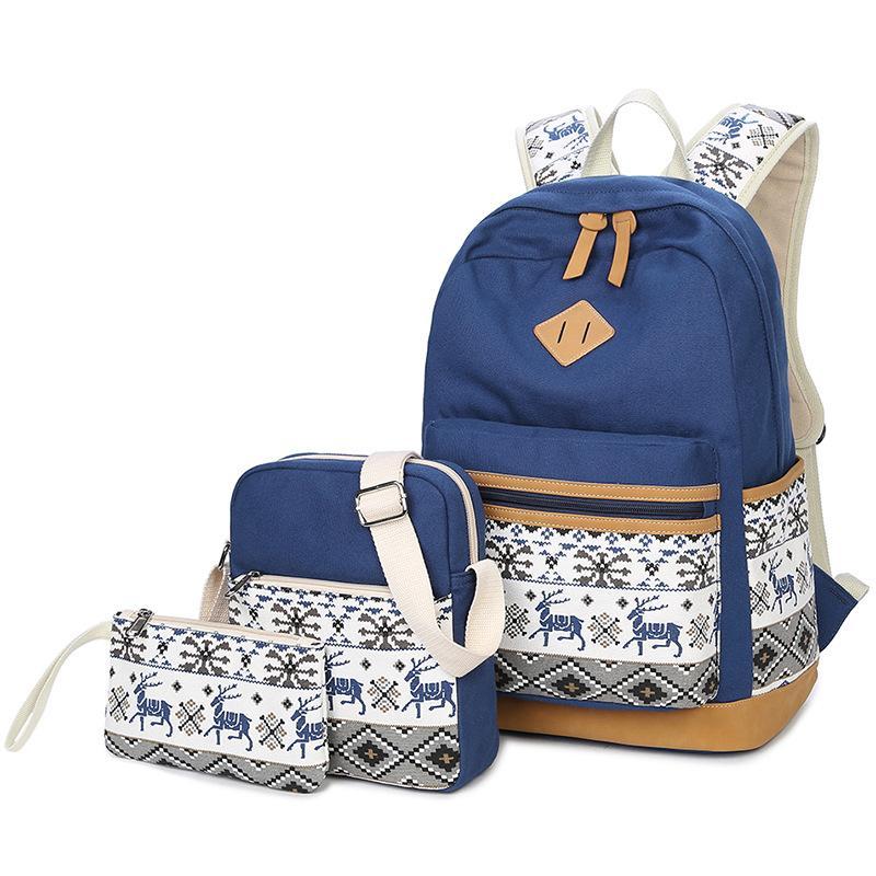 The New 2018 School Students Three Piece Leisure Backpack Bag ... f1b8fec8ec268