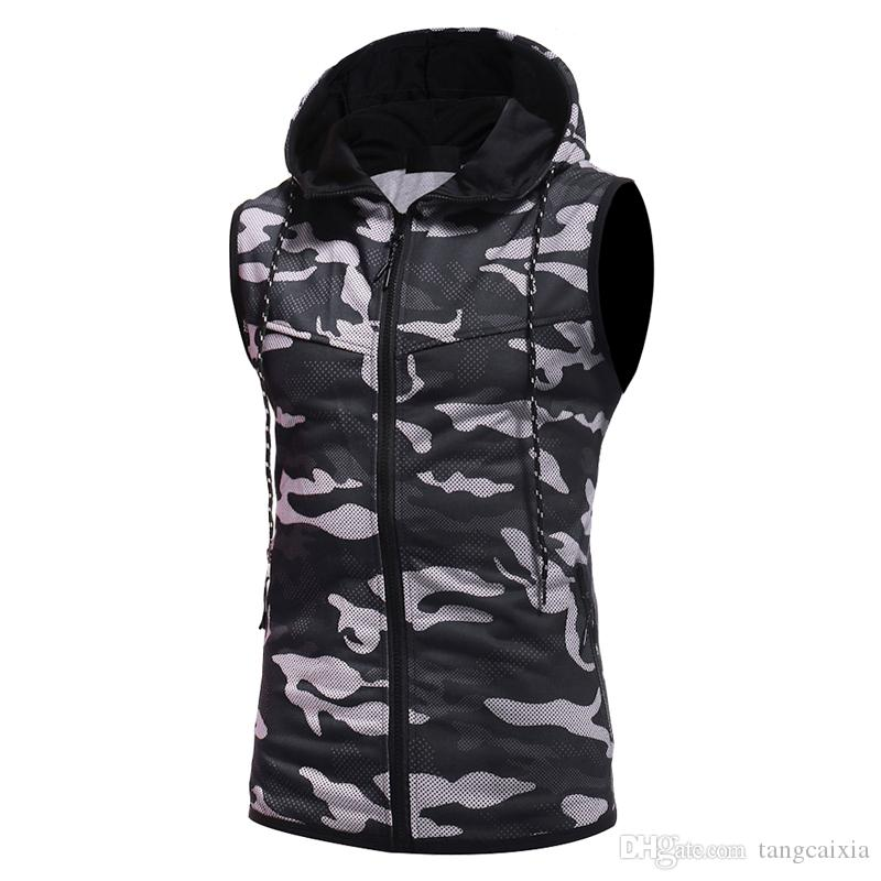 men muscle t shirt hooded fashion brand camouflage print cotton sleeveless sportwear tops tees plus size 3XL Wholesale