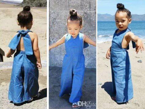 21ceedb6ea74 2019 2016 Fashion Kid Girls Jumpsuit Baby Overalls Jeans Cotton ...