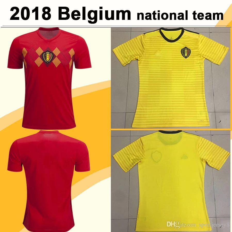 2018 Copa Mundial Bélgica DE BRUYNE E.HAZARD Camisetas De Fútbol LUKAKU  KOMPANY FELLAINI Camisetas De Fútbol Del Equipo Local Selección Nacional  MERTENS ... 1e16ec7d96cce
