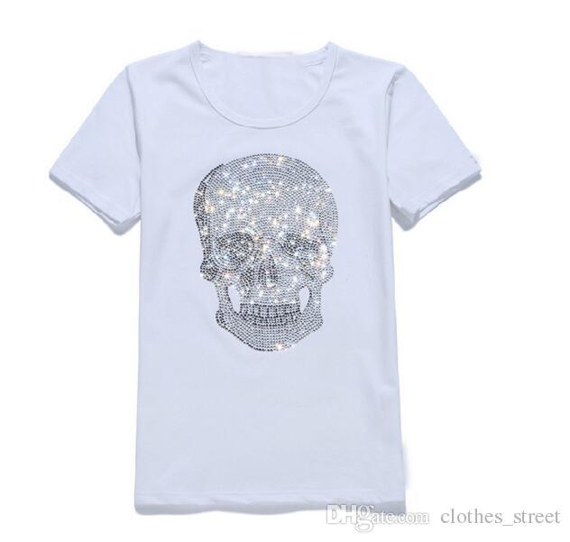New Tide Brand Herren Short Fit Slim Casual T-Shirts Drucken 3D-Schädel Strass Desinger Herren Baumwoll-T-Shirts