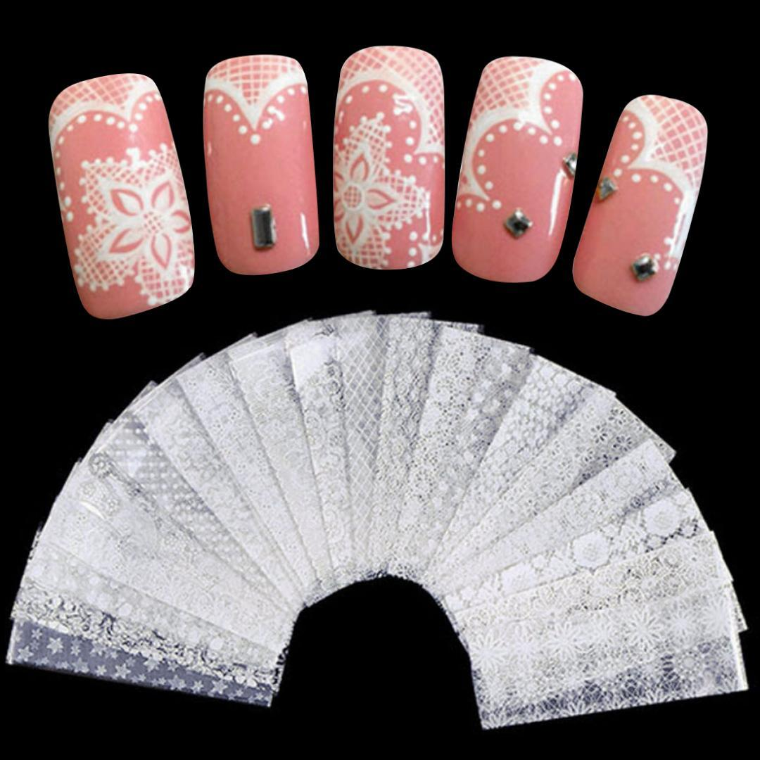 Nail Care, Manicure & Pedicure Us Seller-hot Nail Designs Black Floral Lace Nail Decal Water Transfer Slide Health & Beauty