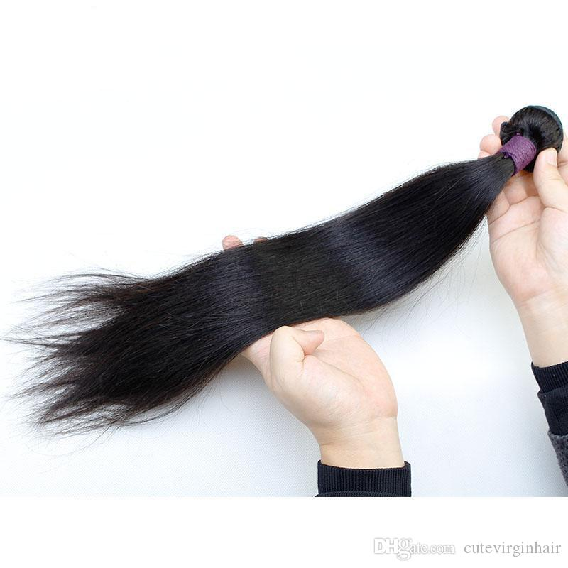 Long Straight Natural Looking Hair Bundles Unprocessed Brazilian Human Hair Weaves Extension Natural Color 10-30 Longer Inch