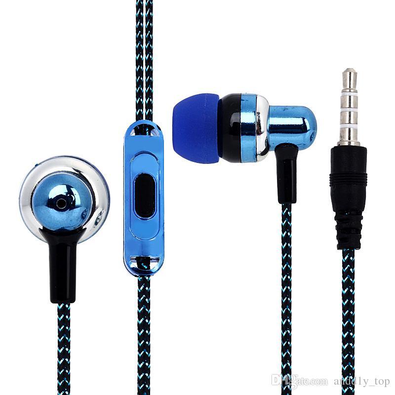 Nuevo auricular de llegada universal de 3,5 mm en oreja Auriculares auriculares de placas de electrochapa auriculares con micrófono para Samsung iPhone HTC xiaomi
