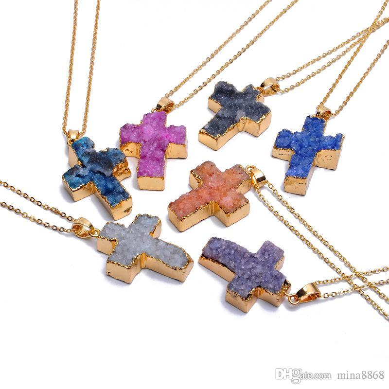 Colorful Fashion Christ Cross Chakra Statement Pendant Necklace Quartz Natural Stone Gemstone Rock Crystal Cross Pendant Necklace For Women