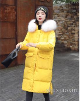 In the fall and winter of 2018 new upset down jacket female han edition show thin fashion heavy hair loose led long coat