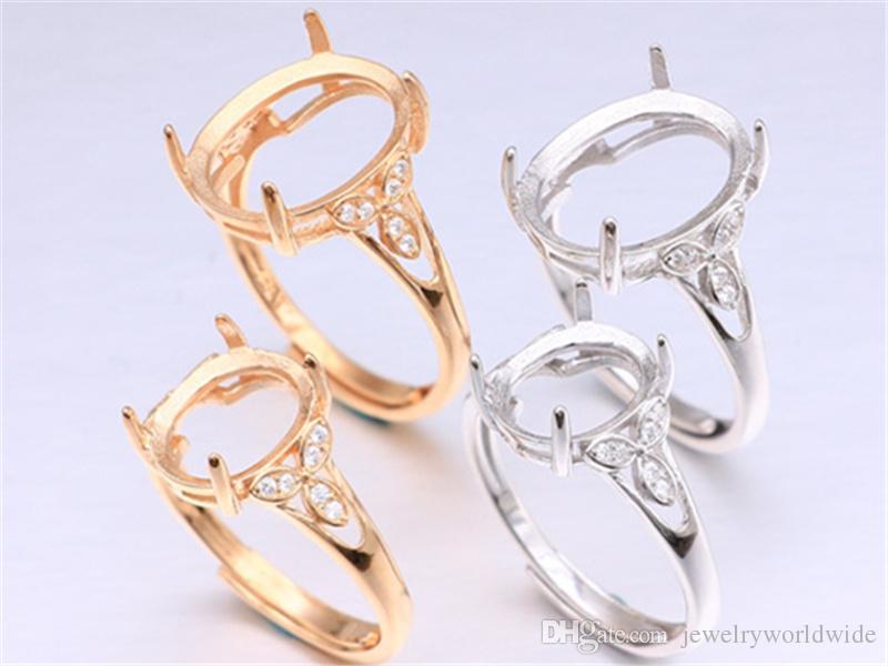Réglages de bague semi monture pour la grande pierre ovale avec trois feuilles côté CZ Solide 925 Sterling Silver Women bijoux mariée demoiselle d'honneur cadeaux de mariage