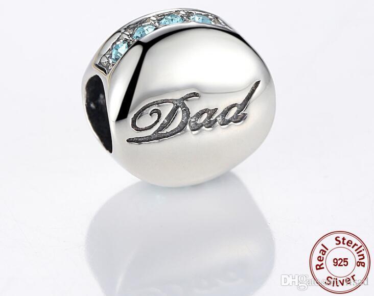 Fabrik Großhandel 925 Sterling Silber Charms für DIY Armbänder Anhänger, Blue Diamond und