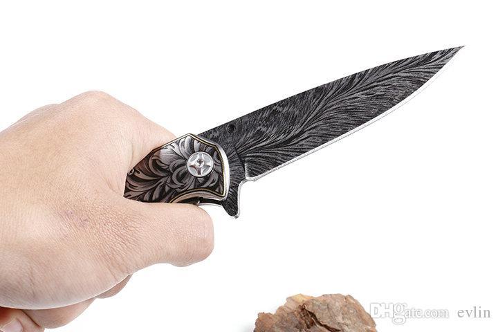 Promoción 2018 maneja el cuchillo plegable diseño de la nueva China Hecho CM77 3D táctico de la lámina 440C de madera EDC cuchillos de bolsillo con la caja al por menor Paquete