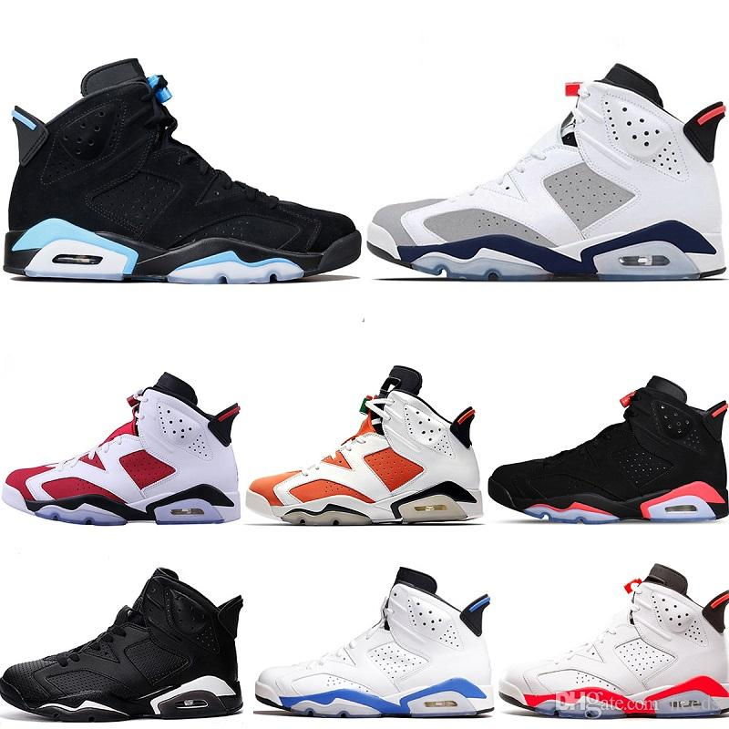 4c3b2294d98 Designer Men 6 Basketball Shoes Tinker Trainers Sneaker UNC Blue Black Cat  White Infrared Red Carmine Maroon Mens Sports Sneakers Size 7 13 Girls  Basketball ...