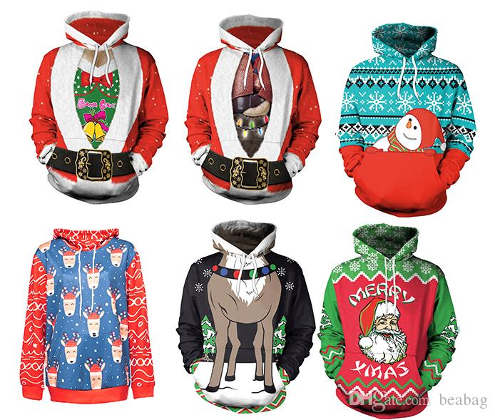 Christmas style 3D print Man/Women's Hoodies Autumn/Winter pullover hoodies Long Sleeve Loose sweatshirt with hat #038
