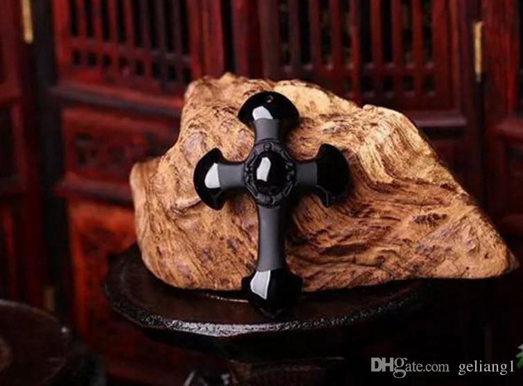 Ücretsiz teslimat - doğal buzlu obsidyen kolye el oyması. İsa Mesih çapraz ... Tılsım kolye kolye.