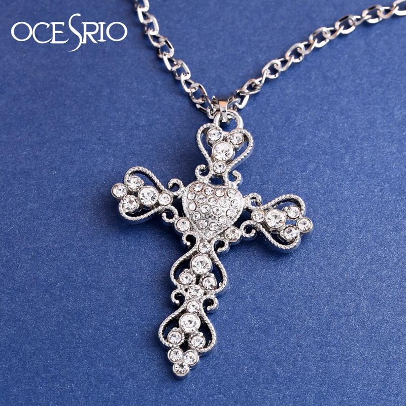 2de44cbcb6ffd5 Wholesale Big Cross Pendant Necklace Man Fashion Long Silver Chain Necklaces  Pendants For Women Cross Jewelry Necklace Nickel Free Nke K05 Gold Chains  ...