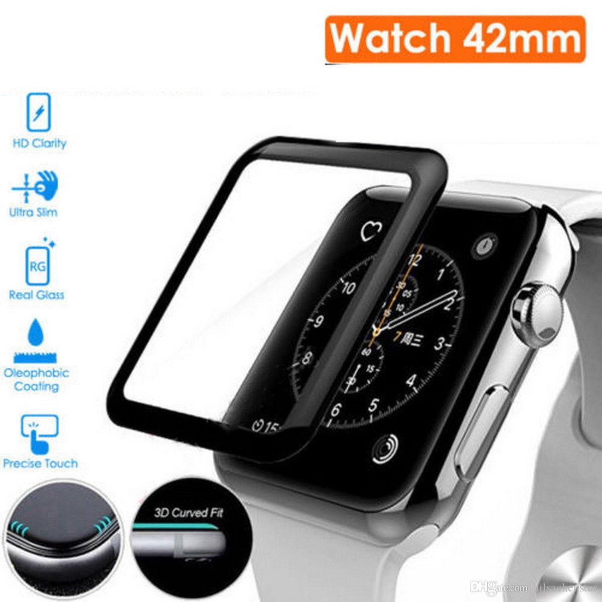 size 40 c8148 62577 Full Cover 3D Tempered Glass Screen Protector Film For Apple Watch Series 3  42mm
