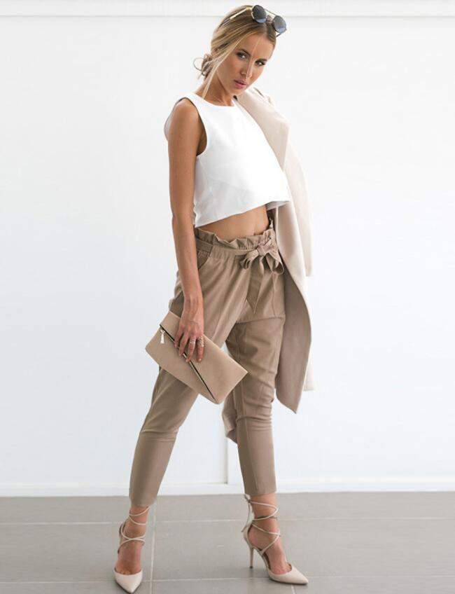 32b44bea0397 2018 Hot Summer Fashion New Women's Wood Ear Belts Women Casual Trousers  Slim Feet Trousers Free Shipping