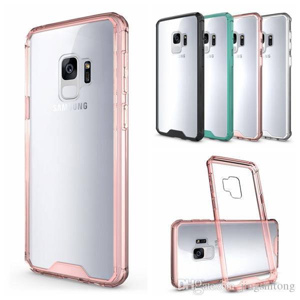 official photos 7dfce 3a360 Clear PC Case For Samsung Galaxy S9 Case Transparent Soft TPU Bumper  Acrylic Air Hybird Dual Armor Back Cover For Galaxy S9 Plus Clear Coque