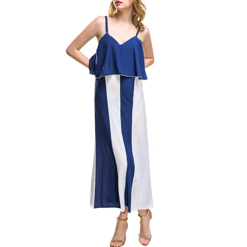 428f860d700d1 Satın Al 20187 2018 Yeni Check Kadın Yaz Elbise Bohemian Plaj Uzun Elbiseler  Çizgili Patchwork Baskı Askısı Ruffles Elbise Turuncu Toptan, $27.14 |  DHgate.