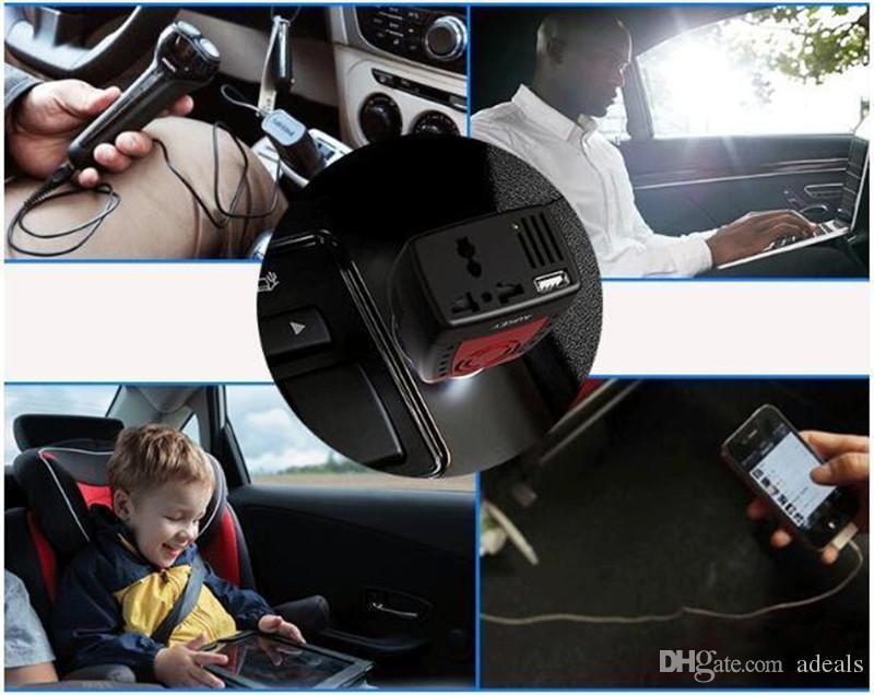 Adaptador del convertidor de corriente del coche 150W 12V a 110V / 220V con el cargador USB del encendedor de cigarrillos para el teléfono inteligente Notebook