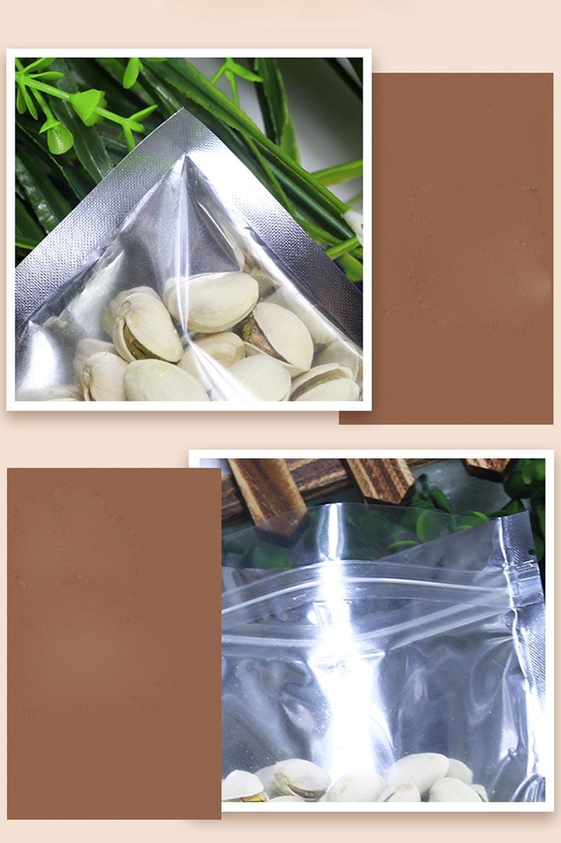 التي واضح رقائق الألومنيوم حقيبة فضي لامع التغليف البلاستيكية فضفاضات الحقيبة للشاي الغذاء كاندي كوكي الخبز التبغ عشبة