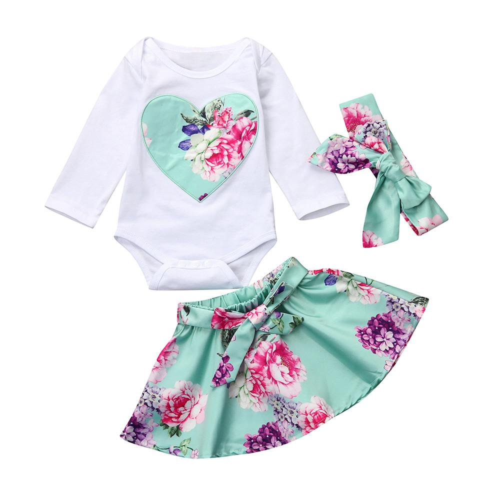 d19027ce4770c 2Pcs Newborn Infant Baby Girl Floral Heart Bodysuit Tops Skirt Outfits  Clothes Set Long Sleeve Girls Bodysuits Sweet Beauty