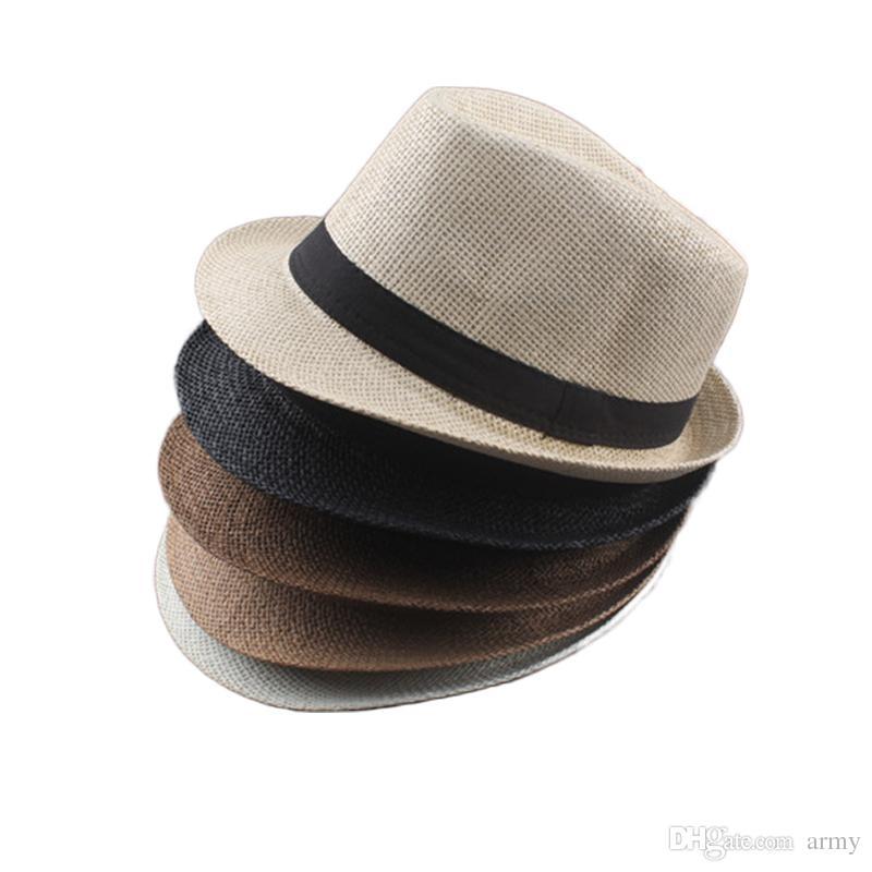 Compre Vogue Hombres Mujeres Algodón   Lino Sombreros De Paja Suave Fedora  Panamá Sombreros Al Aire Libre Stingy Brim Caps es Elegir A  2.02 Del Army  ... c017423d43c
