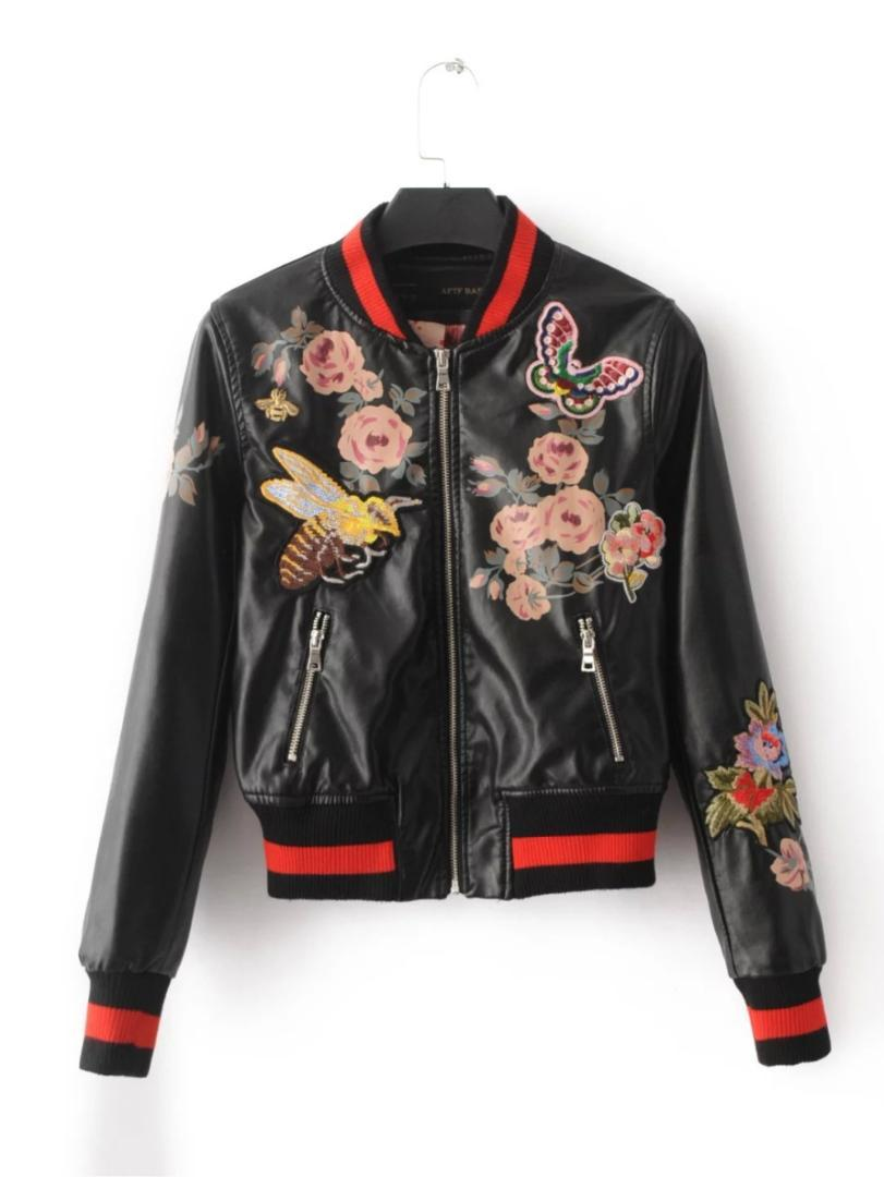 ecb515dd40 2017 Brand autumn bomber jacket back flowers embroidery Leather jacket  women patchwork rib sleeve black Motorcycle coat