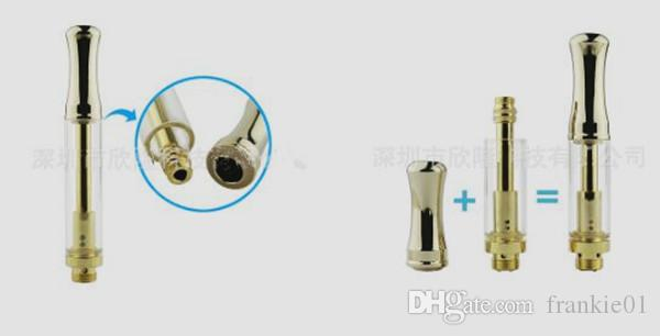 bobina de cerámica del cartucho de vape de vidrio de oro 0,3 ml 0,5 ml 1,0 ml con punta de metal redonda o plana cartucho de cigarrillo electrónico vaporizador personalizado