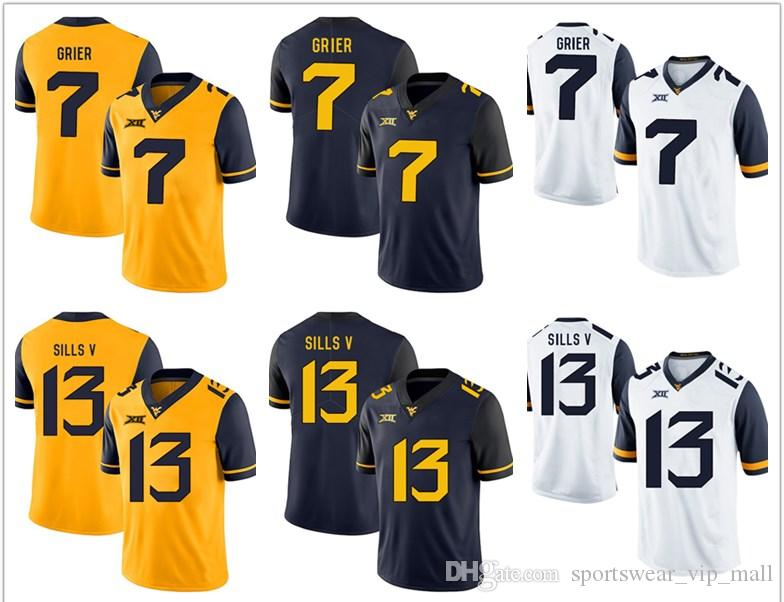 NCAA West Virginia Mountaineers WVU Jersey  7 Will Grier 13 David ... ebd4c8410