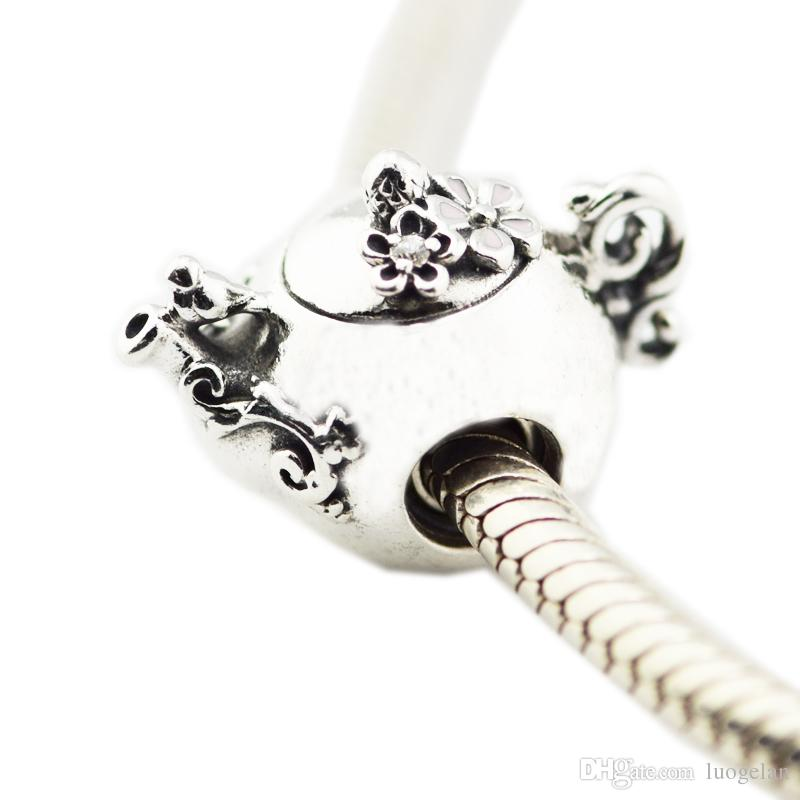 2018 Spring New 925 Sterling Silver Enchanted Tea Pot Charm With Clear CZ Bead Fits Pandora Bracelet DIY for Women Jewelry Accessories