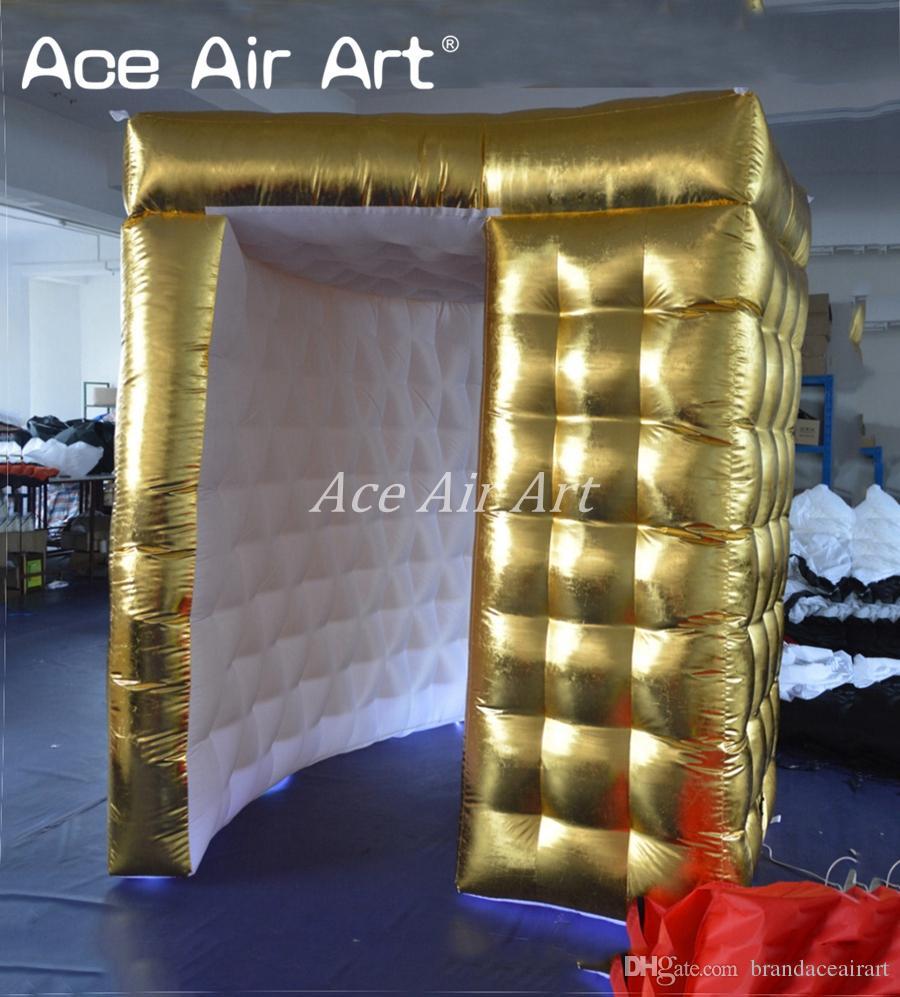 Ultra lüks altın şişme sektör fotoğraf kabini / fon, foto kabine, düğün ve parti kiralama için led ışıkları ile özel fotoğrafçı