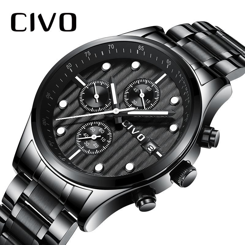 b3feaa48ca2 Compre CIVO Mens Relógios 2018 Marca De Luxo Relógio Para Homens À Prova D   Água Cronógrafo Analógico Quartz Relógio De Pulso Relógio Homem Relogio ...