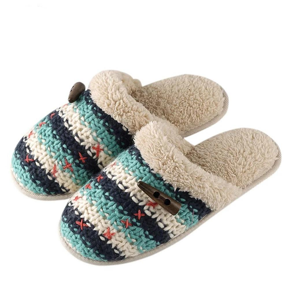 2521a4a62a9635 Women Winter Plush Home Slippers Comfort Knitted Wool Shoes Warm House Soft Slippers  Indoor Slip On Ladies Zapatillas Wide Calf Boots Shoes For Women From ...