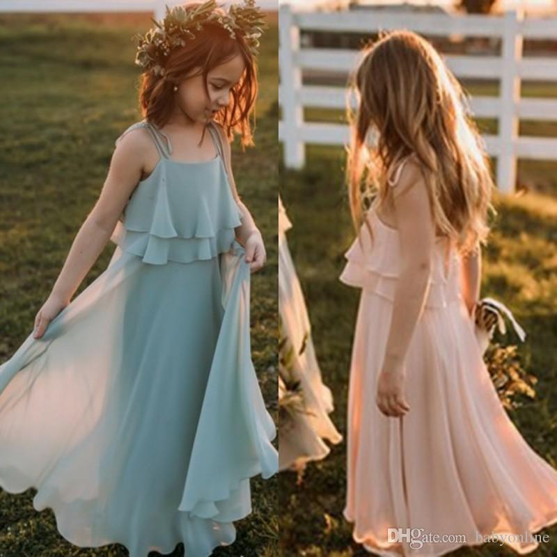 1170e27eefef 2018 Lovely Chiffon Flower Girl Dresses For Summer Beach Bohemian Weddings  Pleats Spaghetti Straps Kids Holiday Beach Dress Cheap Dresses For Teenage  Girls ...