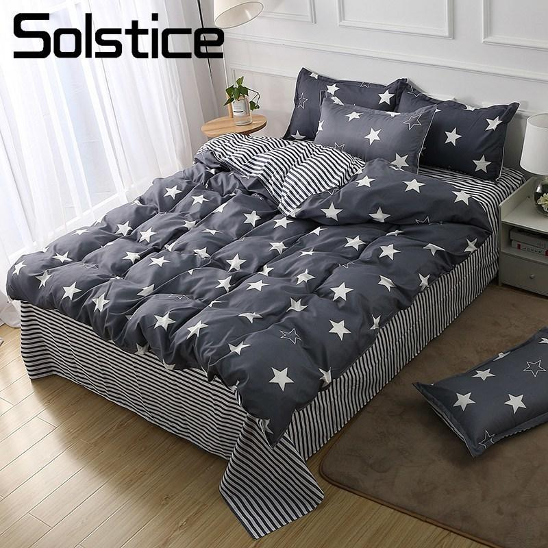 Solstice Home Textile Duvet Quilt Cover Flat Bed Sheet Pillowcase Kid Teen  Bedding Set Star Stripe Gray Linens Suit Queen Single Kids Bedding Sets  Bedding ...