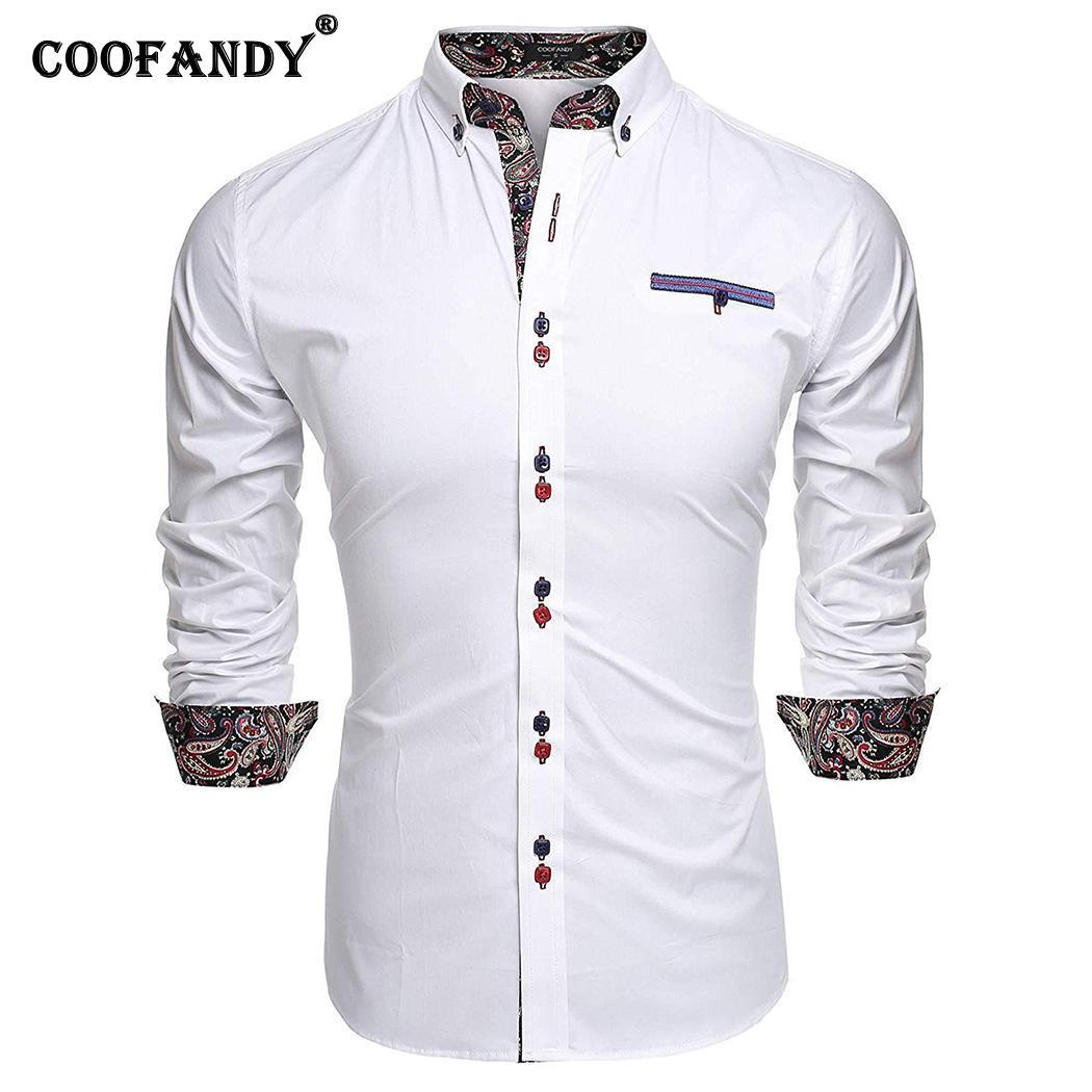 Colletto Button Shirt Slim Print Long Turn-Down Autunno Casual Bianco Primavera Fit Rosso Blu Black Sleeve Royal Men