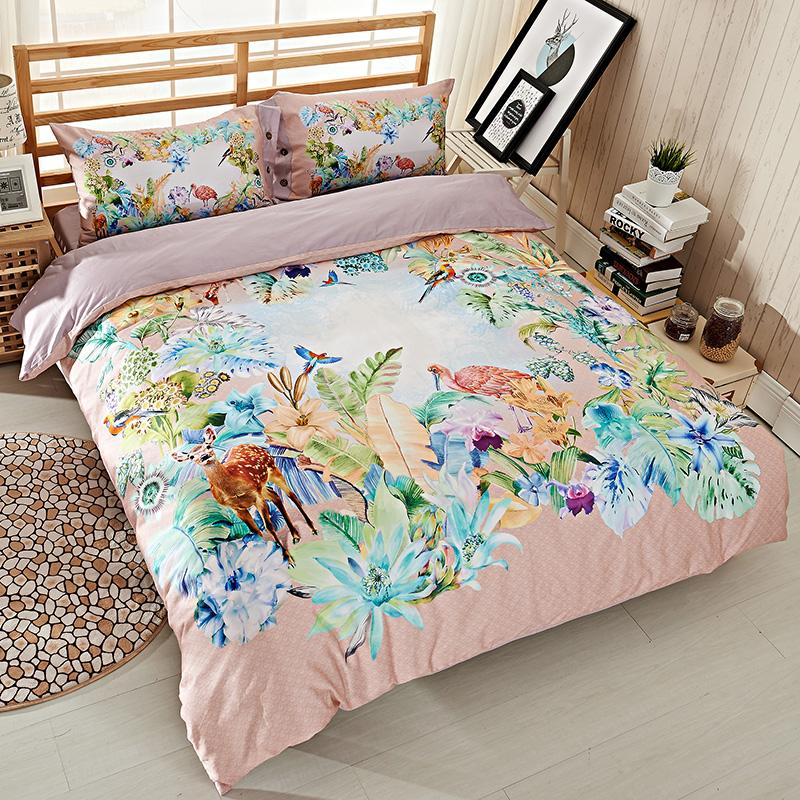 Bright Colored Watercolor Deer Animal Bird Flowers Bedding Set Queen Size  Quilt Cover Bed Sheets Pure Cotton Bedroom Set Cotton Duvet Covers Bedding  For ...