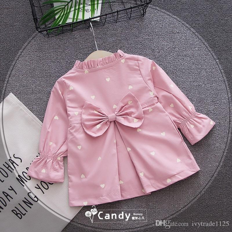 2018 INS spring NEW arrival Girls Kids ruffles collar long SleeveLove bow coat causal high quality cotton Bow bottoming coat