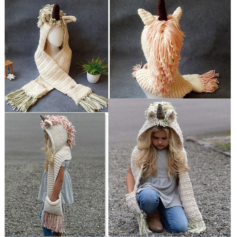 2019 Children Unicorn Scarf Cap 2 In 1 Kids Infant Warm Knitted Hats