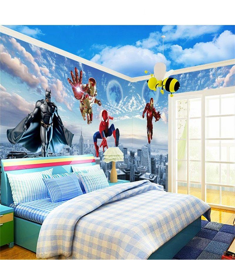 Children Room Wallpaper Boy Bedroom Cartoon Wall Cloth Mural 3d The Avengers Wall Sticker Nonwoven Fabric Mural Decal 22lt Gg