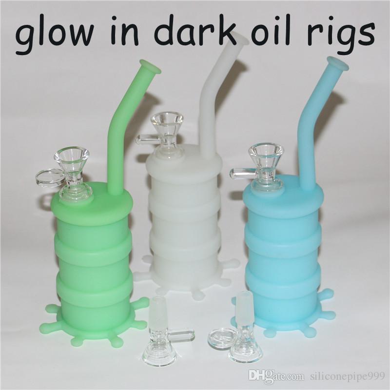 Silicone Pipe à Eau Bong Incassable Silicone Dab Oil Rig Concentré avec 5ml Wax Container et bol en verre livraison gratuite