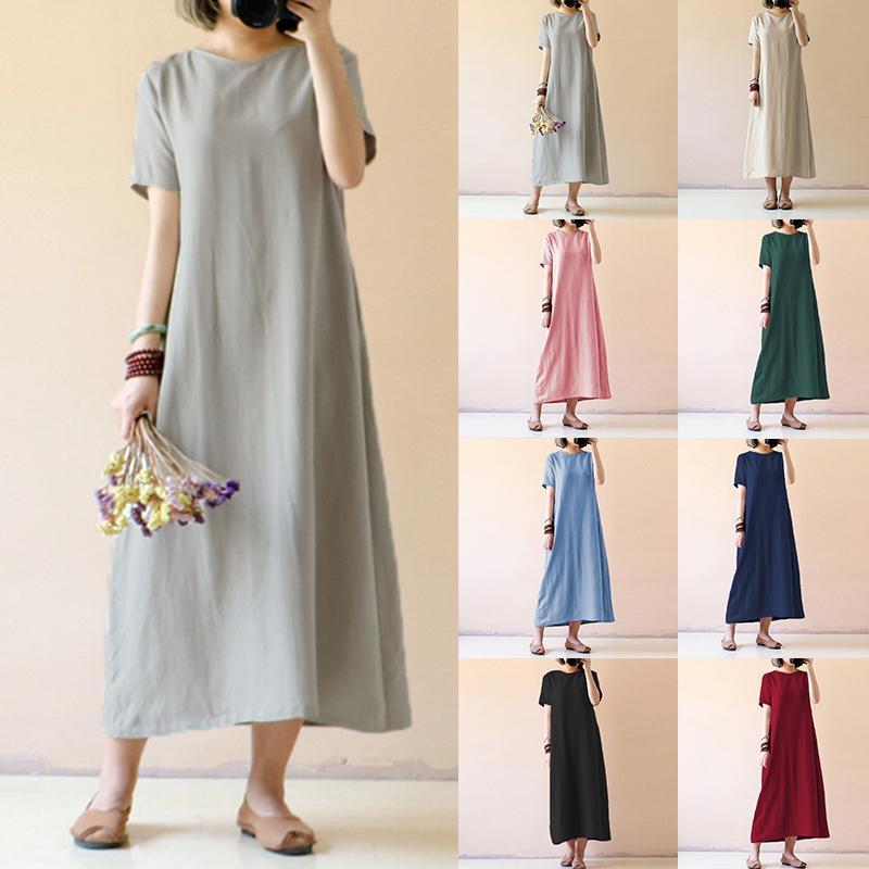 ea7f927984d56 Celmia Plus Size Shirt Vestidos Women Retro Linen Dress 2018 Summer Female  Short Sleeve Solid Casual Loose Party Maxi Dresses Y1890810