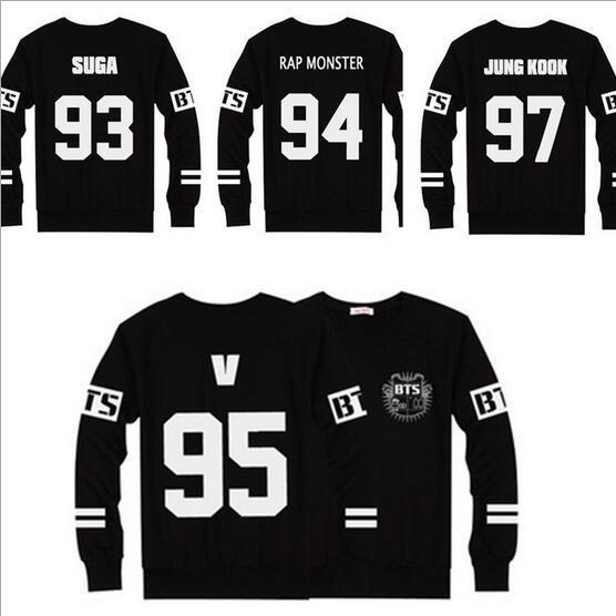 BTS SUGA / JIMIN /JIN/ V / JUNGKOOK /J-HOPE Rap Monster Baseball T Shirt  Sweatshirts Sweater Clothes Bts T-shirt