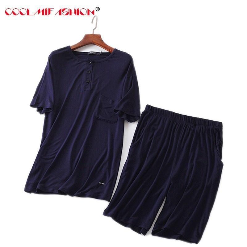 d16c8986587f 2019 Men S Casual Pyjamas Suit Modal Summer Lounge Sleepwear Shorts Bottoms  Short Sleeve Shirt Set Pajamas Pijama Hombre Masculino From Huaijing