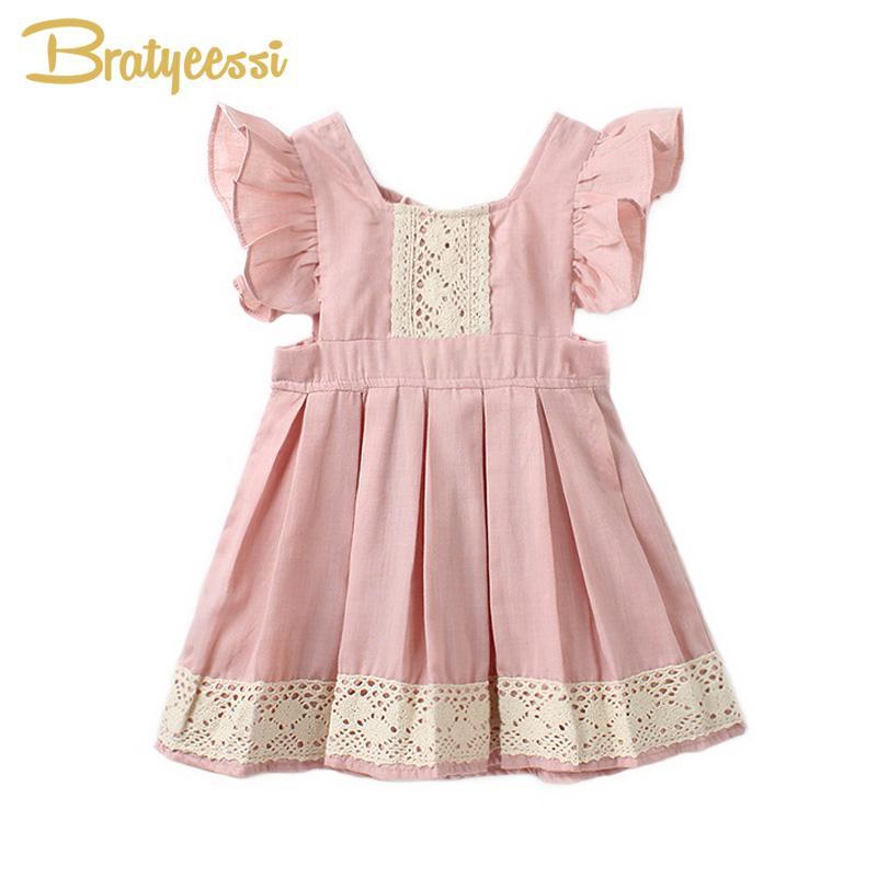 949dcc092 Compre Princesa Rosa Vestido Infantil Ruffles Manga A Linha Bebê Vestido De  Algodão Bonito Crianças Meninas Vestidos De Bebê Menina Roupas De Heathera,  ...